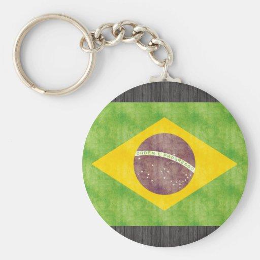 Bandera retra del Brasil del vintage Llavero Redondo Tipo Pin