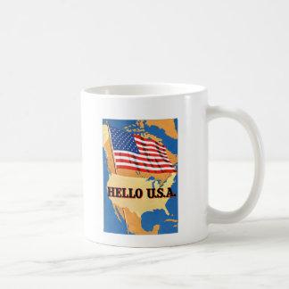Bandera retra del kitsch 50s América hola los E.E. Tazas