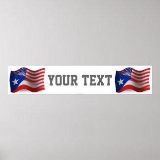 Bandera Rican-Americana de la bandera de Puerto qu Póster