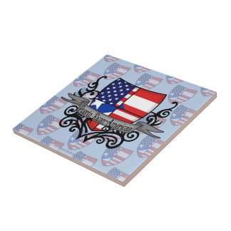 Bandera Rican-Americana del escudo de Puerto Tejas Ceramicas