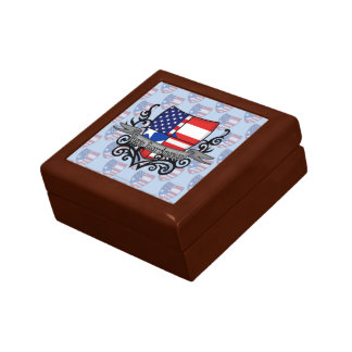 Bandera Rican-Americana del escudo de Puerto Cajas De Regalo