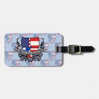 Bandera Rican-Americana del escudo de Puerto Etiquetas Bolsa