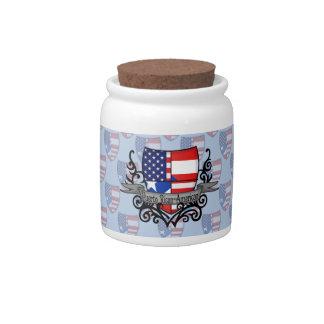 Bandera Rican-Americana del escudo de Puerto Plato Para Caramelo