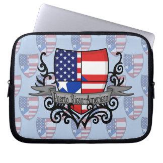 Bandera Rican-Americana del escudo de Puerto Fundas Ordendadores
