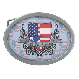 Bandera Rican-Americana del escudo de Puerto Hebillas De Cinturon Ovales