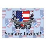 Bandera Rican-Americana del escudo de Puerto Invitación 12,7 X 17,8 Cm