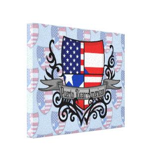 Bandera Rican-Americana del escudo de Puerto Lona Envuelta Para Galerias