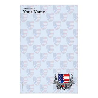 Bandera Rican-Americana del escudo de Puerto Papeleria Personalizada