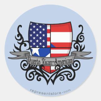 Bandera Rican-Americana del escudo de Puerto Etiquetas Redondas