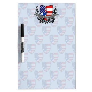 Bandera Rican-Americana del escudo de Puerto Pizarras Blancas De Calidad
