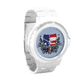 Bandera Rican-Americana del escudo de Puerto Reloj De Mano