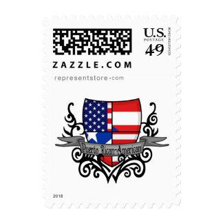 Bandera Rican-Americana del escudo de Puerto Sellos