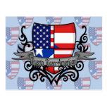 Bandera Rican-Americana del escudo de Puerto Postal