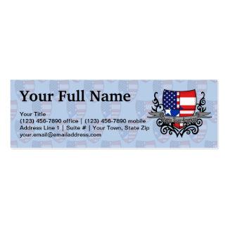 Bandera Rican-Americana del escudo de Puerto Tarjetas De Visita Mini