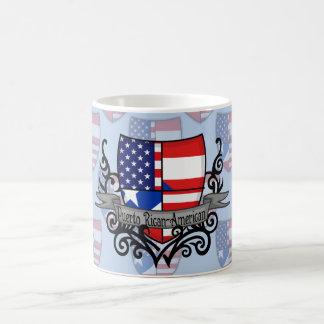 Bandera Rican-Americana del escudo de Puerto Taza De Café