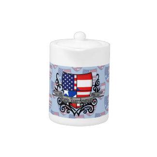 Bandera Rican-Americana del escudo de Puerto