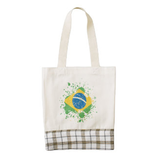 Bandera rociada Grunge del Brasil Bolsa Tote Zazzle HEART
