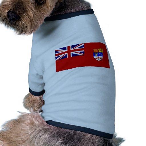 Bandera roja canadiense de la bandera camiseta con mangas para perro