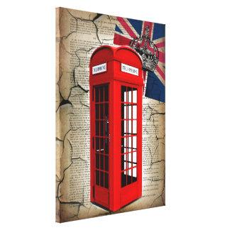 bandera roja de británicos de la moda de la cabina lona estirada galerías