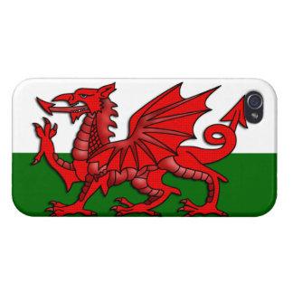 Bandera roja del dragón del _de País de Gales iPhone 4 Coberturas