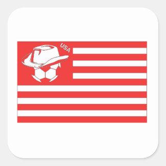 Bandera roja del fútbol de los E.E.U.U. Calcomanías Cuadradas Personalizadas