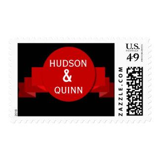 Bandera roja del riboon sellos postales