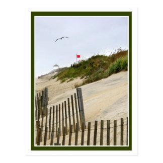 Bandera roja en las dunas tarjetas postales