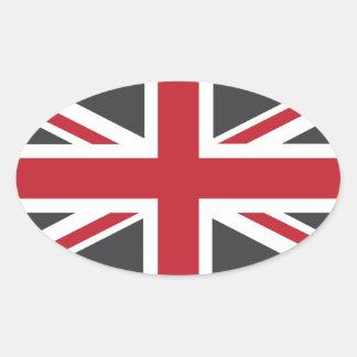 Bandera roja gris fresca de Union Jack Británicos Colcomanias Ovaladas Personalizadas