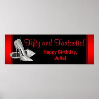 Bandera roja negra de la fiesta de cumpleaños de l póster