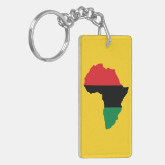 Bandera roja, negra y verde de África Llavero Rectangular Acrílico A Doble Cara