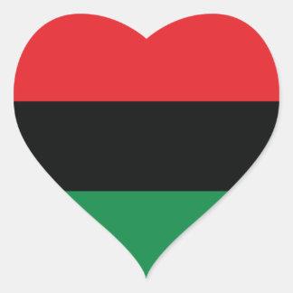 Bandera roja, negra y verde calcomanía de corazón personalizadas