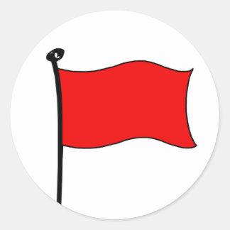 Bandera roja: pegatinas (pequeños) etiqueta redonda