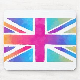Bandera rosada de Británicos de la acuarela del Mouse Pads