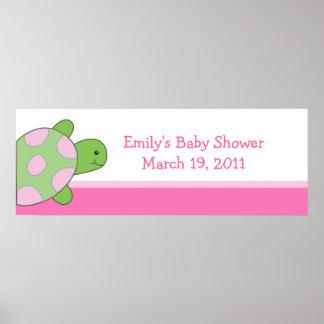 Bandera rosada de la fiesta de bienvenida al bebé/ poster