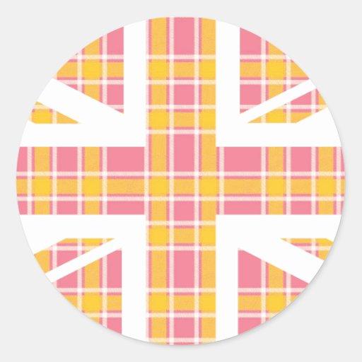 Bandera rosada de Union Jack Británicos (Reino Pegatina Redonda