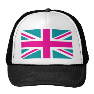 Bandera rosada de Union Jack Británicos (Reino Uni Gorro De Camionero