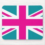 Bandera rosada de Union Jack Británicos (Reino Uni Tapetes De Raton