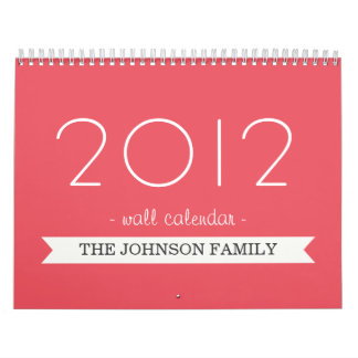Bandera rosada del caramelo su calendario de pared