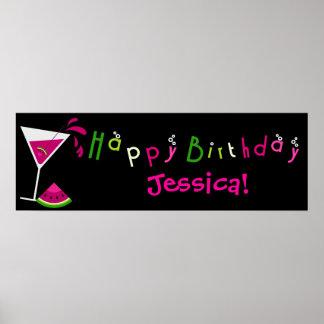 Bandera rosada del cóctel de Martini de la sandía Posters