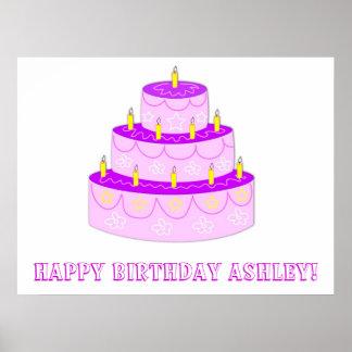 Bandera rosada del cumpleaños de la torta de cumpl póster