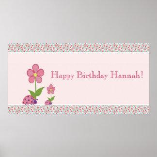 Bandera rosada del cumpleaños de las mariquitas póster