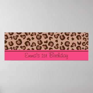 Bandera rosada del cumpleaños del guepardo póster