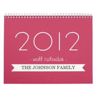 Bandera rosada su calendario de pared de las fotos