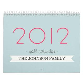 Bandera rosada y azul su calendario de pared de la