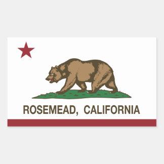 Bandera Rosemead del Stat de California Pegatina Rectangular