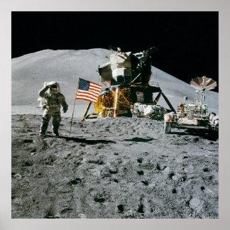 Bandera Rover LM Irwin de Apolo 15 Posters