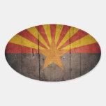 Bandera rugosa de Arizona Pegatina Ovalada