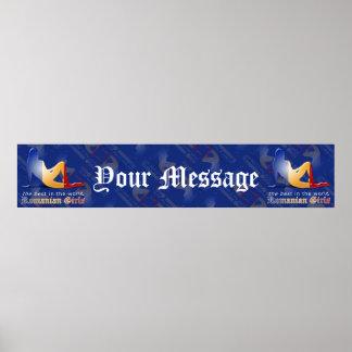 Bandera rumana de la bandera de la silueta del chi posters