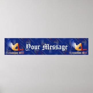 Bandera rumana de la bandera de la silueta del chi impresiones