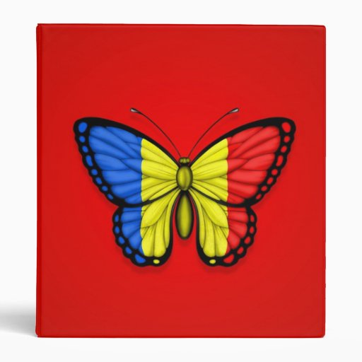 Bandera rumana de la mariposa en rojo